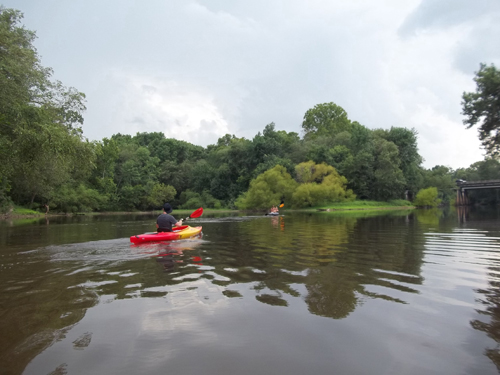 image shows kayakers on Tar River in Greenville NC